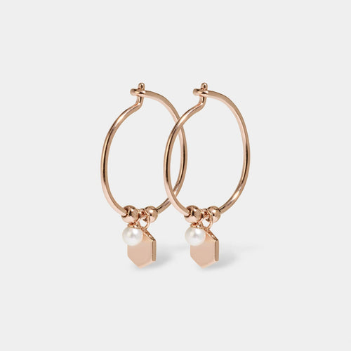 Image: CLUSE Essentielle Rose Gold Hexagon and Pearl Charm Hoop Earrings CLJ50002 - Boucles d'oreilles