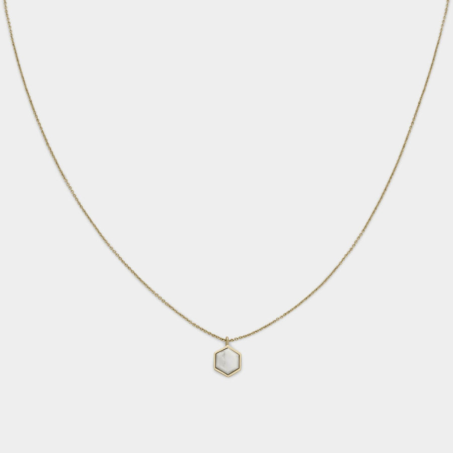 CLUSE Idylle Gold Marble Hexagon Pendant Necklace CLJ21008 - Collier