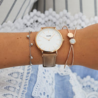 CLUSE La Bohème Leather Rose Gold White/Hazelnut CW0101201015 - montre au poignet