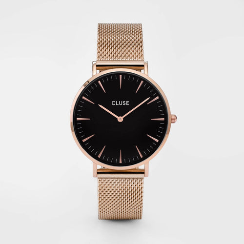 Image: CLUSE La Bohème Mesh Rose Gold/Black CL18113 - Montre