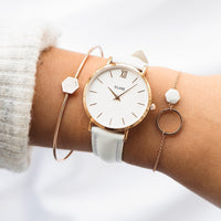 CLUSE Minuit Leather Rose Gold White/White White CW0101203021 - Montre au poignet