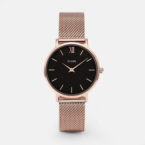 Image: CLUSE Minuit Mesh Rose Gold/Black CL30016 - Montre