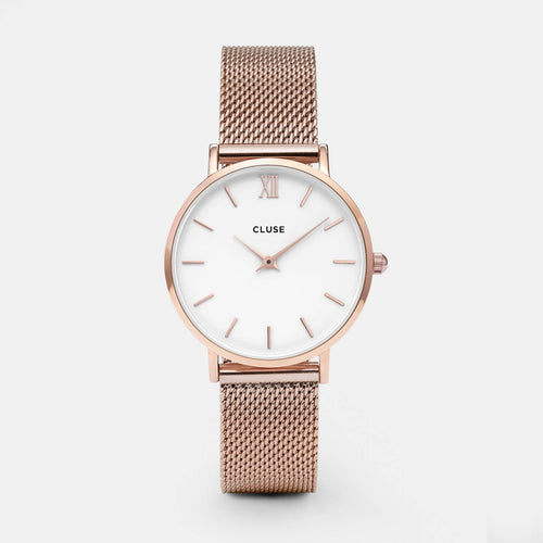 Image: CLUSE Minuit Mesh Rose Gold/White CL30013 - Montre