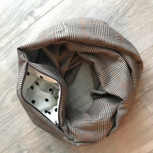 Infinity Pocket Scarf - Brown Plaid