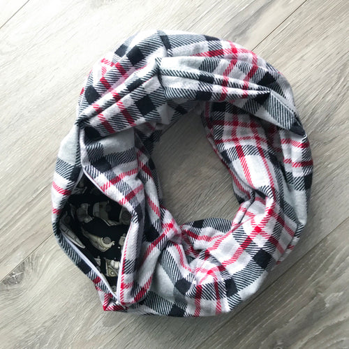 Infinity Pocket Scarf - Flannel Plaid (narrower)