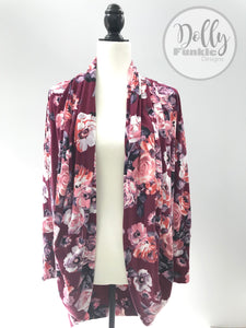 Raspberry Floral Cocoon Cardigan - Small