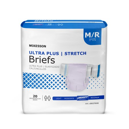 Adult Incontinence Brief McKesson Ultra Plus Stretch Disposable Heavy Absorbency