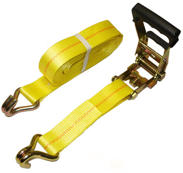 Rubber Handle Ratchet Tie Downs with J Hooks