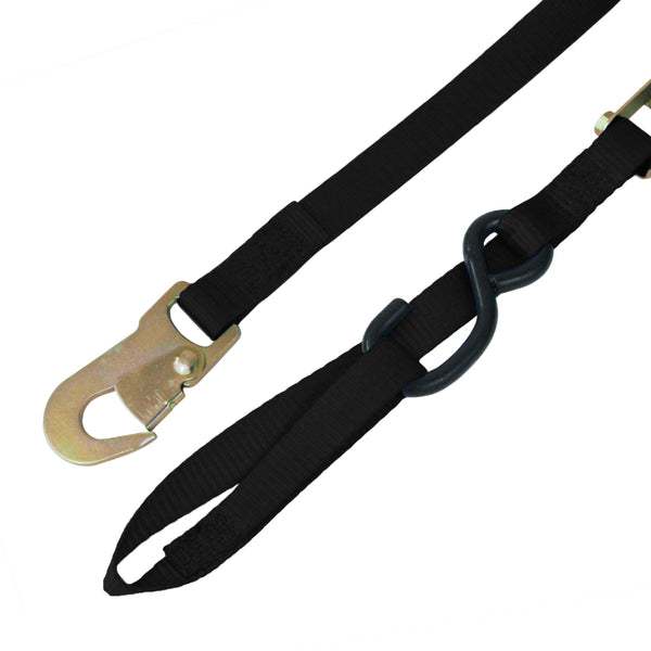 Cam Buckle Tie Down with S Hook, Snap Hook, and Loop