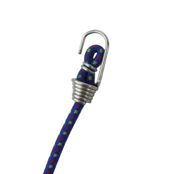 blue bungee mini elastic cord with steel hooks used as light duty cargo tie downs