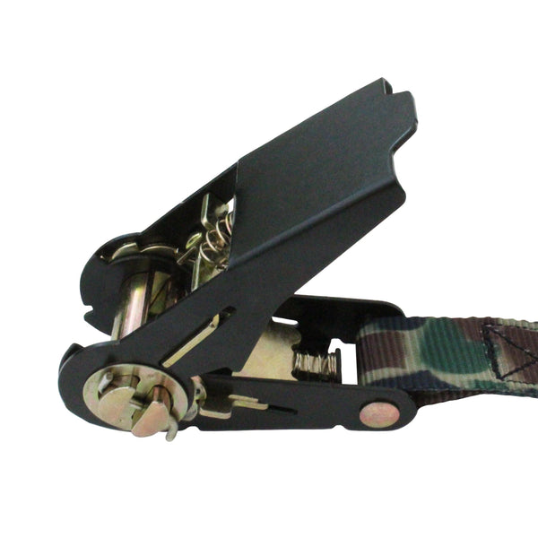 4 Pieces of Ratchet Tie Down with S Hooks in Camouflage - Boxer Tools