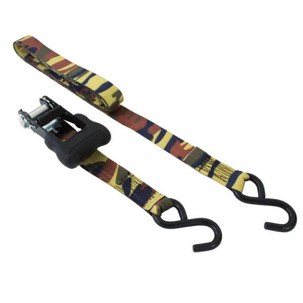 2 Pieces of Ratchet Tie Down with S Hooks in Camouflage