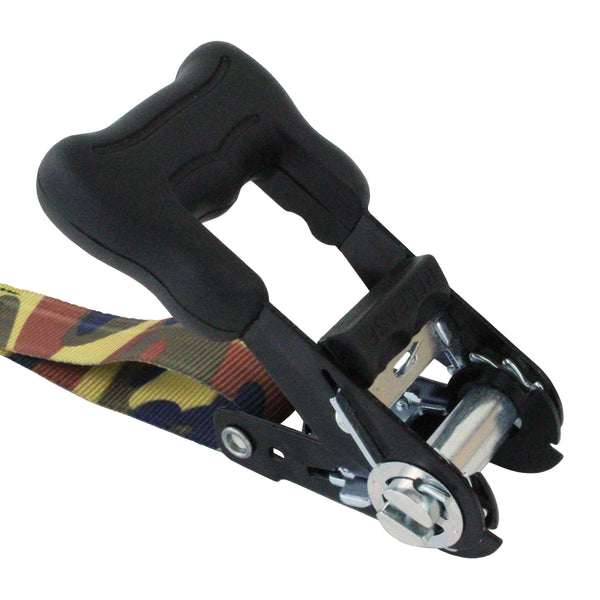 2 Pieces of Ratchet Tie Down with S Hooks in Camouflage - Boxer Tools