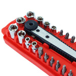 SAE Sockets and Bits Set Ratchet Handle Set with Flexible Extension