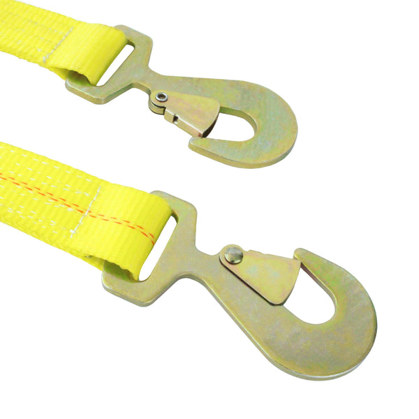 2 inch by 27 feet ratchet strap with flat snap hooks in yellow polyester webbing