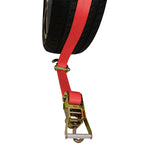 Straight-Style Tire Holder with Swivel J Hooks, Rubber Blocks, and Ratchet