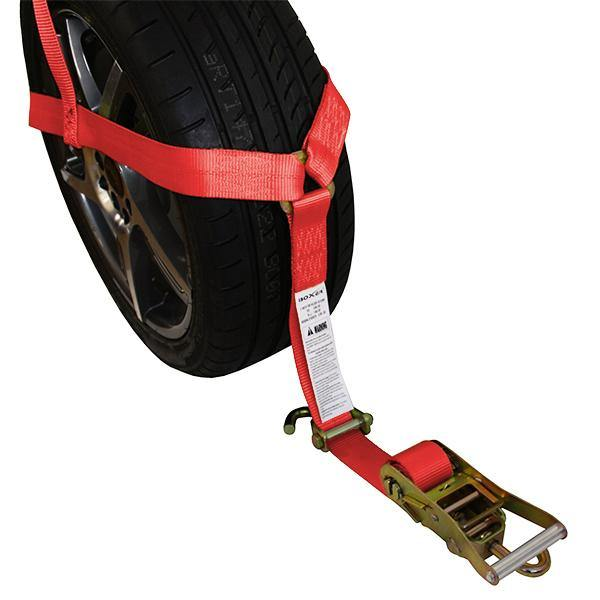 Basket-Style Tire Holder with Swivel J Hooks and Ratchet