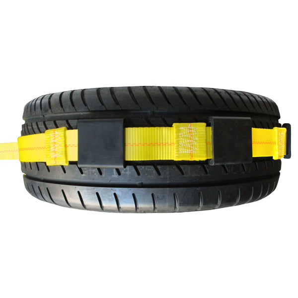 Straight-Style Tire Holder with Twin J Hooks, Rubber Blocks, and Ratchet Extension