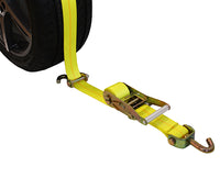 Straight-Style Tire Holder with Swivel J Hooks, Rubber Blocks, and Ratchet Extension