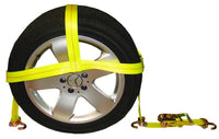 Basket-Style Tire Holder with Swivel J Hooks and Ratchet Extension
