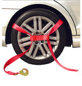 Tire Holder with Ratchet, Twist Snap Hook, D Ring, and Axle Strap