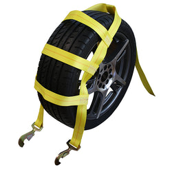 Tire Holder with Ratchet, Twisted Snap Hook, and Axle Strap