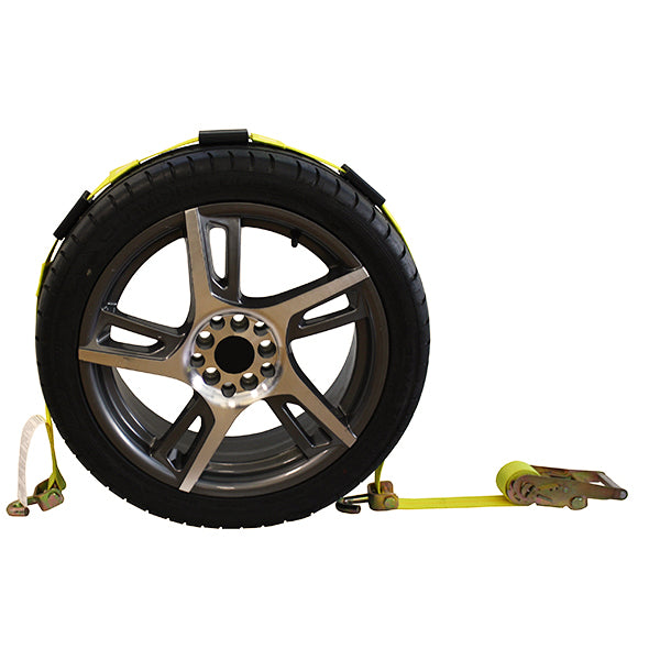 Side Tire Holder with Swivel J Hook, Ratchet, and Axle Strap