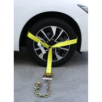 Side Tire Holder Ratchet with Chain Hook, D Ring, and Axle Strap