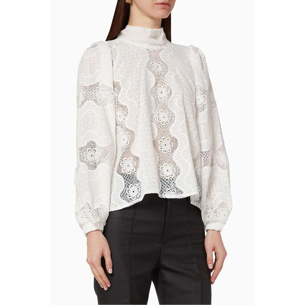 Long Sleeve Poppy Blouse in White Eyelet Floral Lace