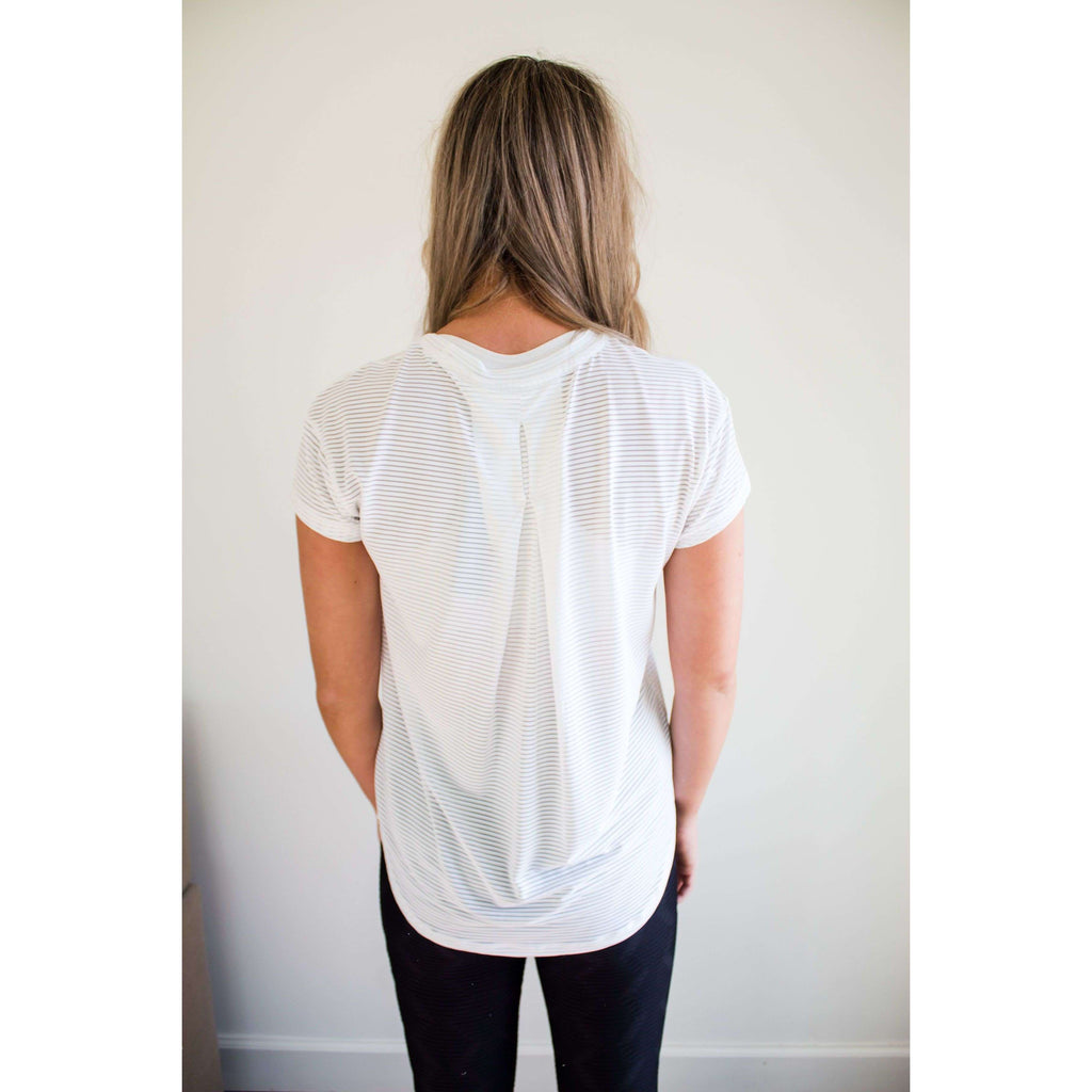 Sheer Mesh Short Sleeve Ribbed Top in White