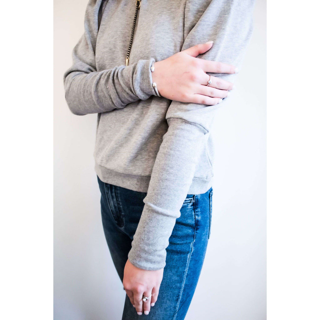 Long Sleeve Puff Shoulder Sweatshirt in Heather Grey