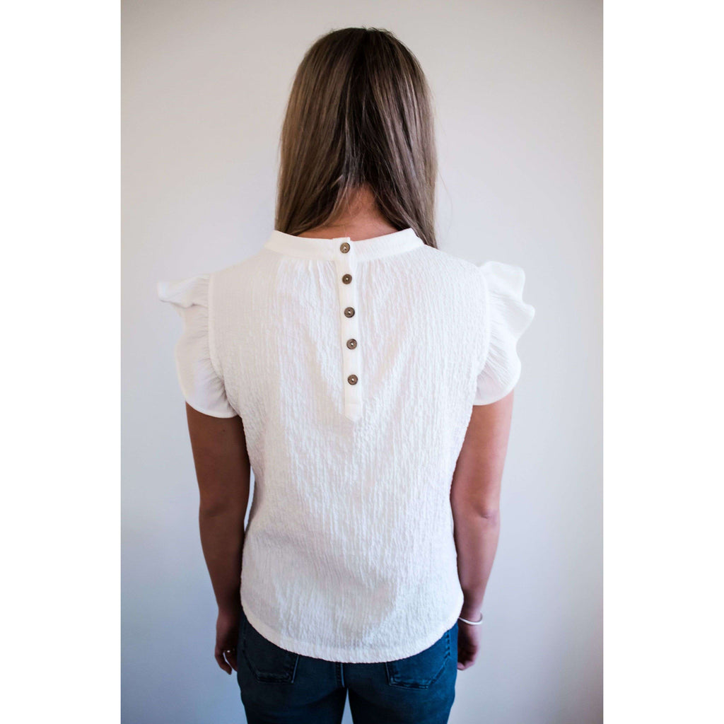 Textured Flutter Sleeve Button Back Top in White