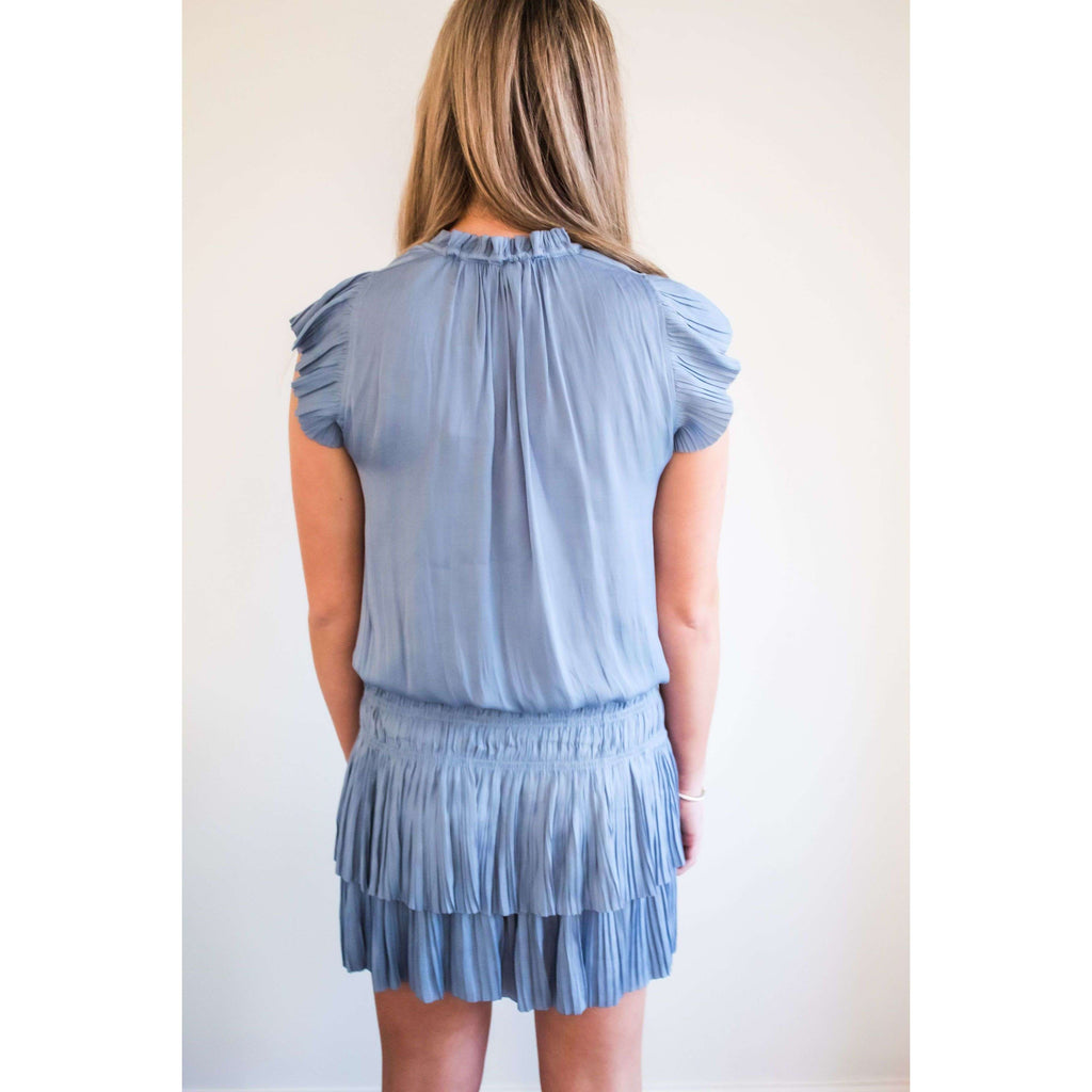 Flutter Sleeve Dress with Elastic Pleated Drop Skirt in Periwinkle Blue