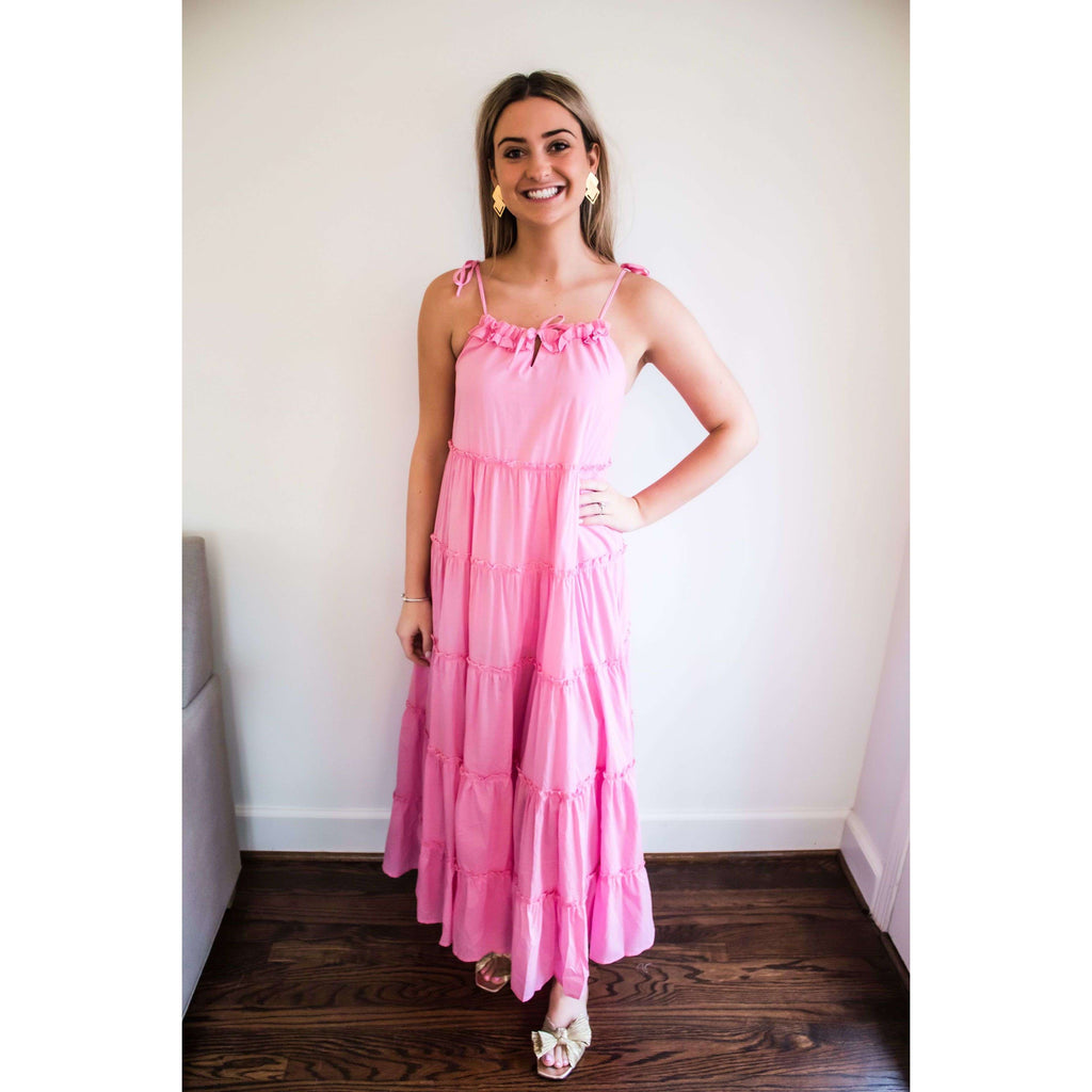 Senorita Tiered Maxi Dress with Adjustable ties in Bubblegum Pink