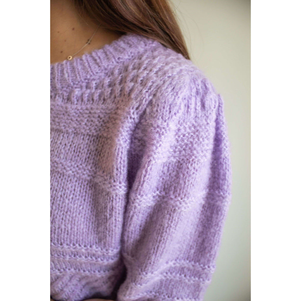 Puff Sleeve Knitted Short Sleeve Sweater in Lilac
