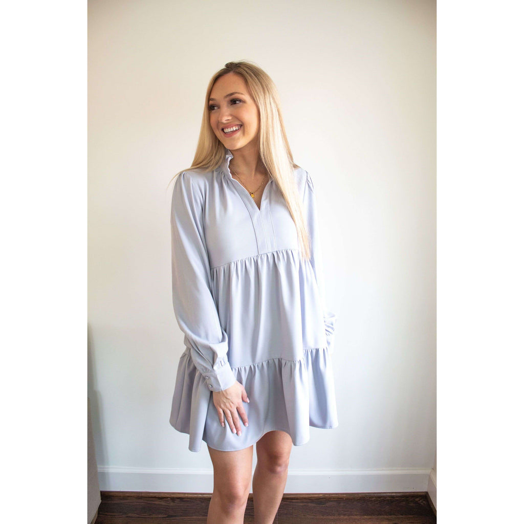 Long Sleeve Tiered Babydoll Dress in Dusty Lilac Blue