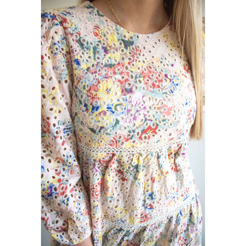 Long Sleeve Eyelet Lace Tiered Babydoll Dress in Multi Color