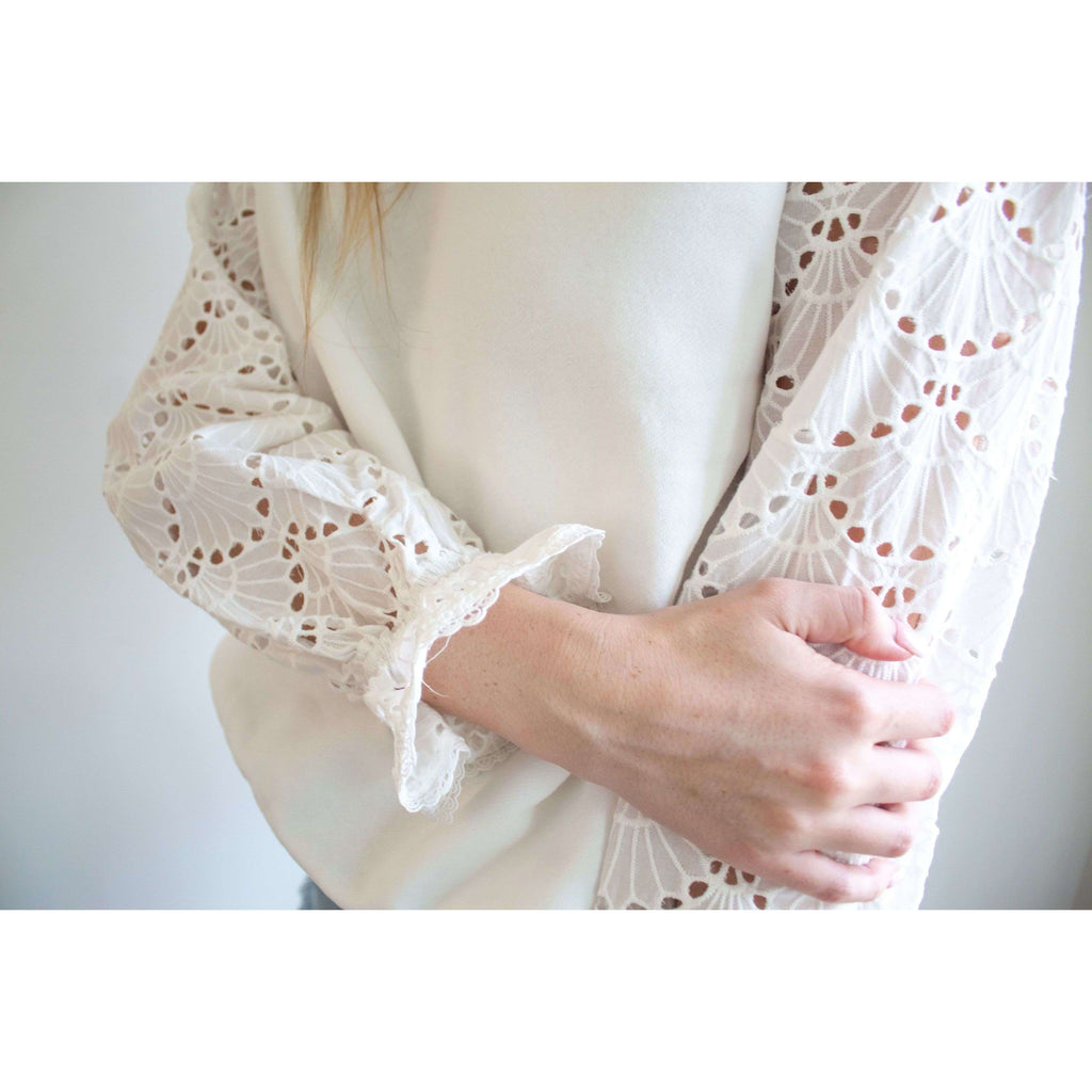 Long Sleeve Sweatshirt with Eyelet Lace Sleeves in White