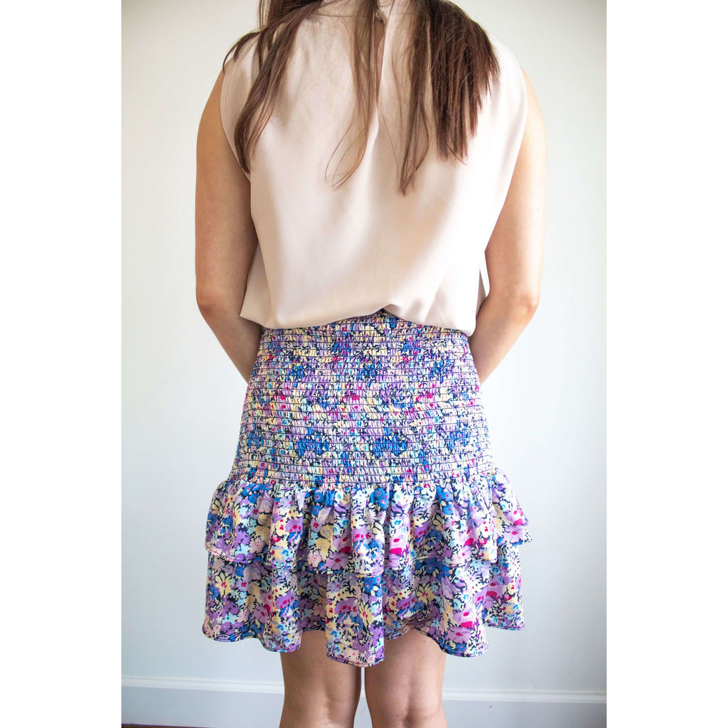 Catalina Smocked Waist Floral Tiered Skirt  in Lavender Floral