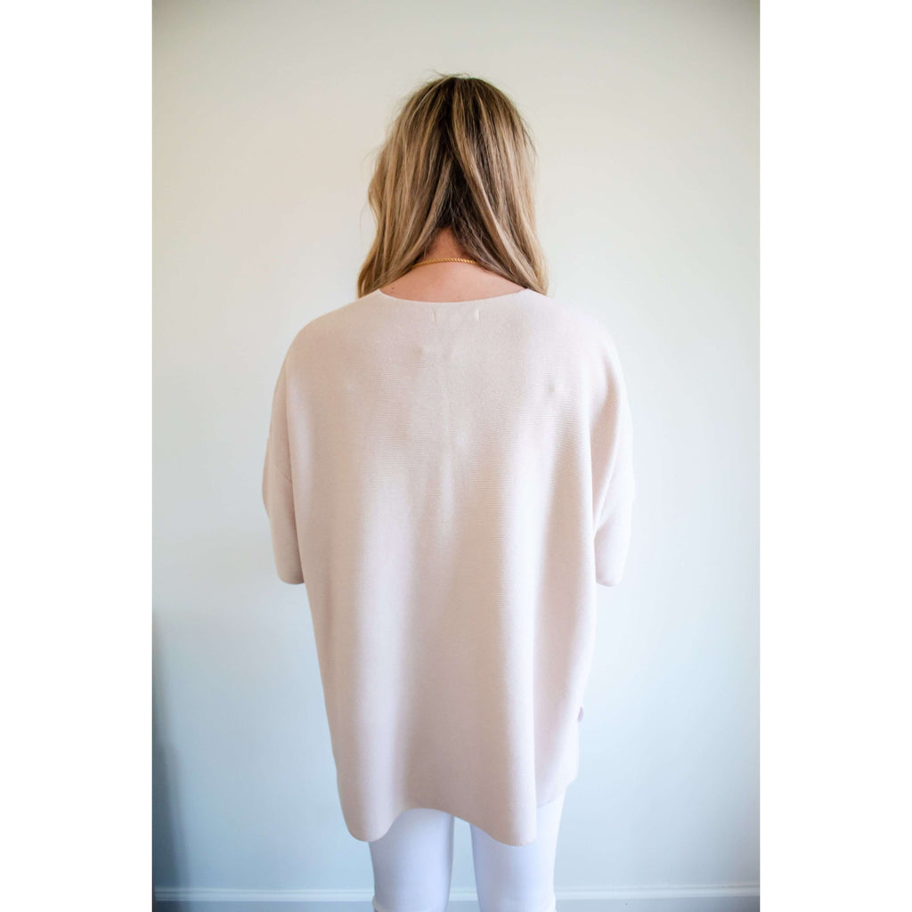 Lightweight Oversized Knit Sweater Top in Blush