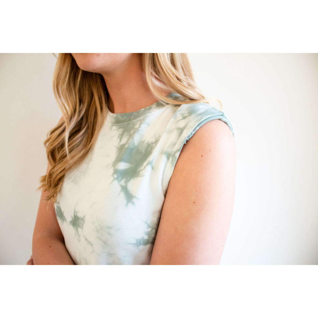 Constance French Terry Tie Dye Dress in Mint