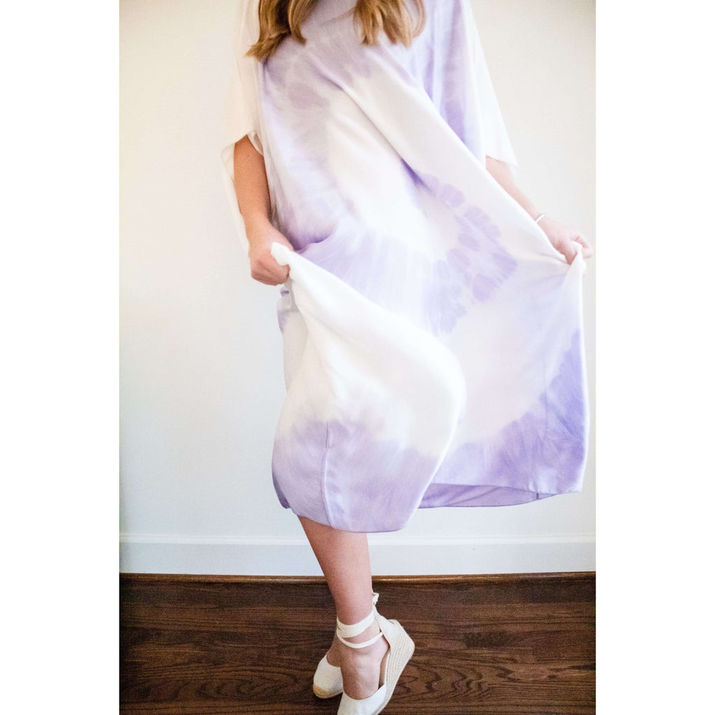 Spiral Silk Tie Dye Kaftan Dress/ Cover Up with Tie in Lavender