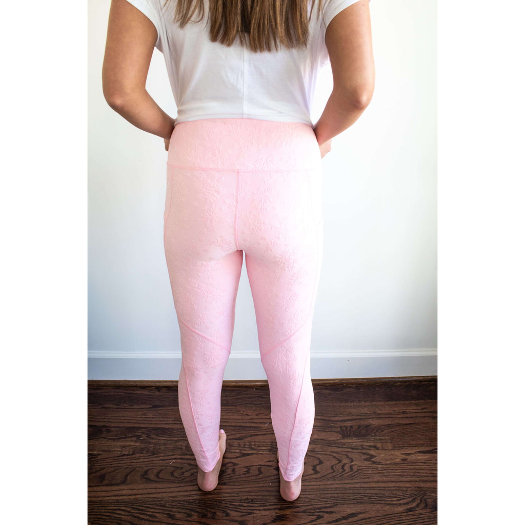 High Rise Textured Floral Leggings in Pretty Pink