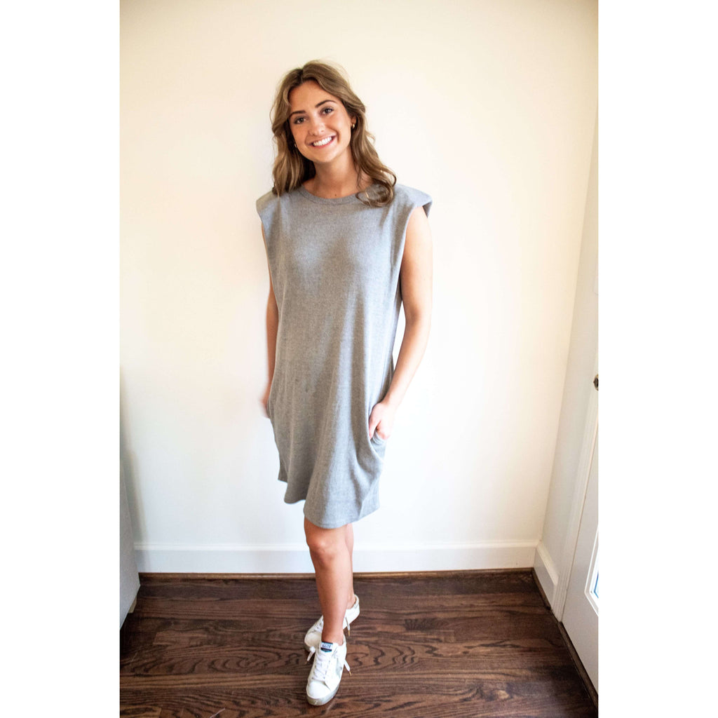 Sleeveless Heather Grey Waffle Knit Shoulder Pad Dress
