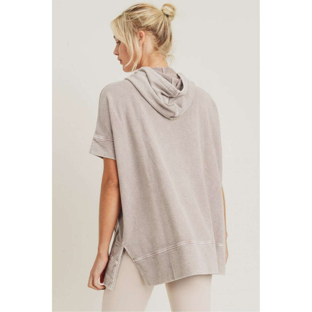 Flowy Mineral Wash Short Sleeve Terry Hoodie in Dusty Pink