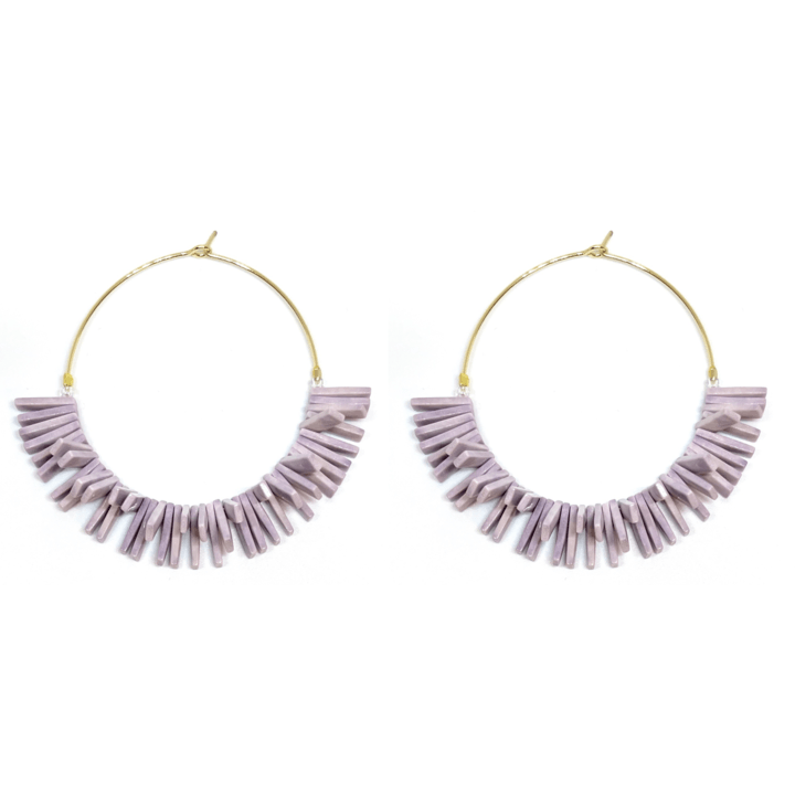 Skinny Gold Hoop Earrings with Lavender Fringe Beads