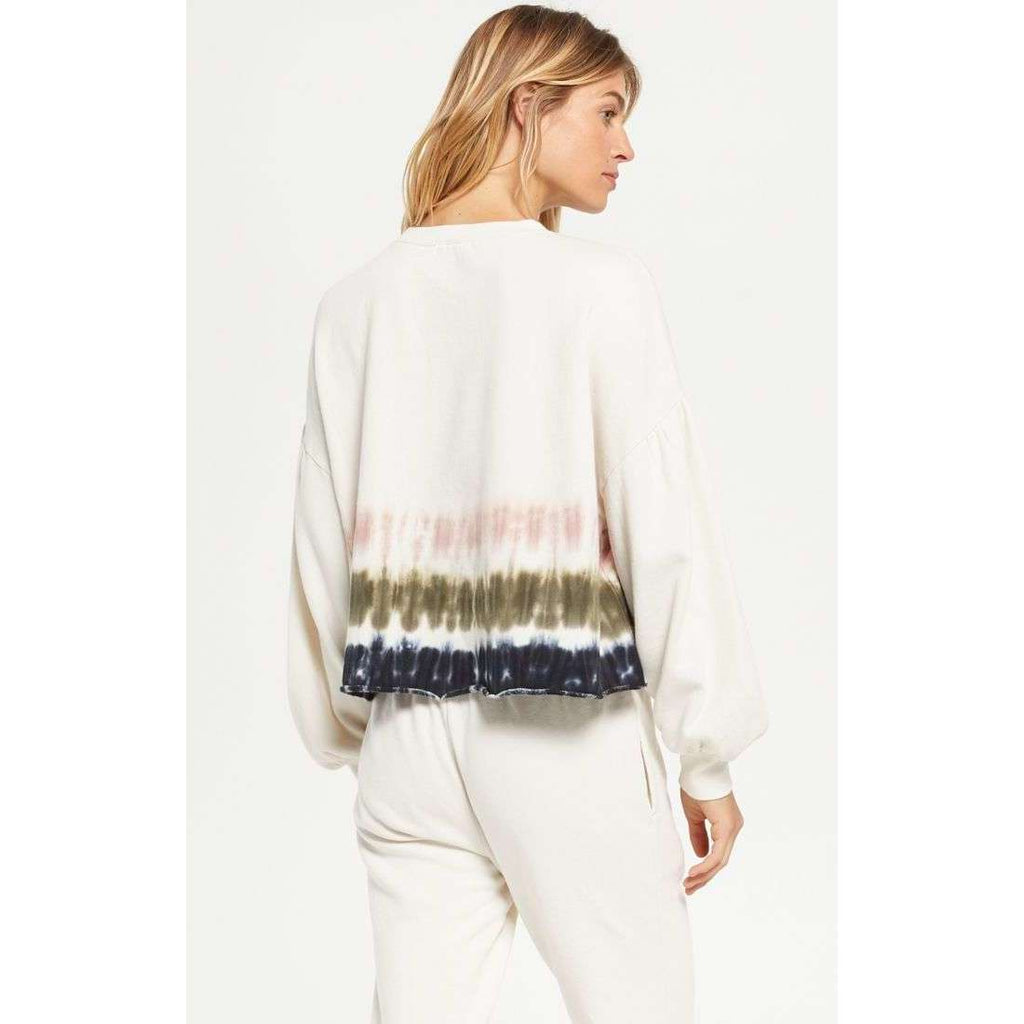 Z Supply Tempest Stripe Tie Dye Crew Top in Blush, Olive Navy
