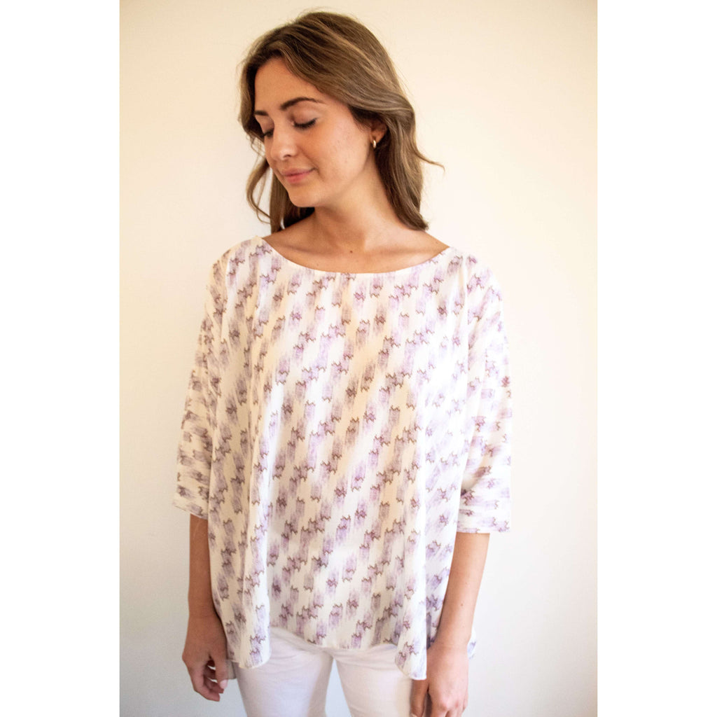 Boxy Silk Geometric Printed Top in Beige/ Lavender
