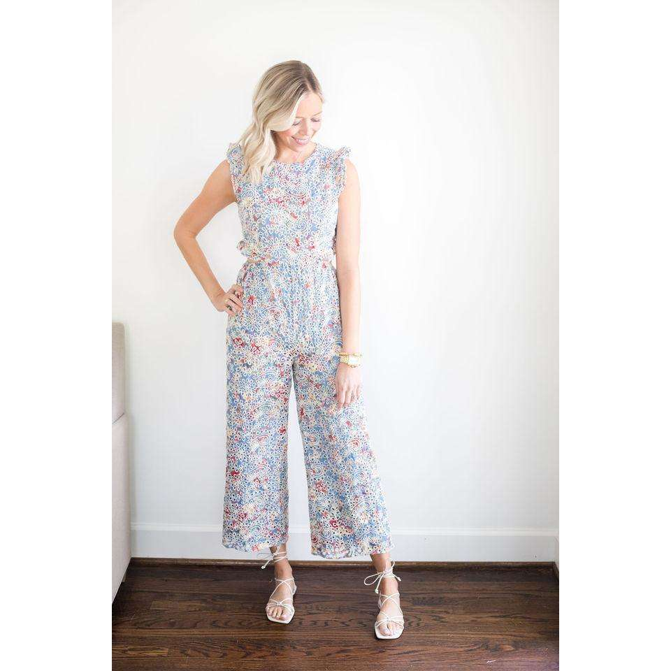 Brooke Sleeveless Open Side Jumpsuit in Blue Multi Eyelet