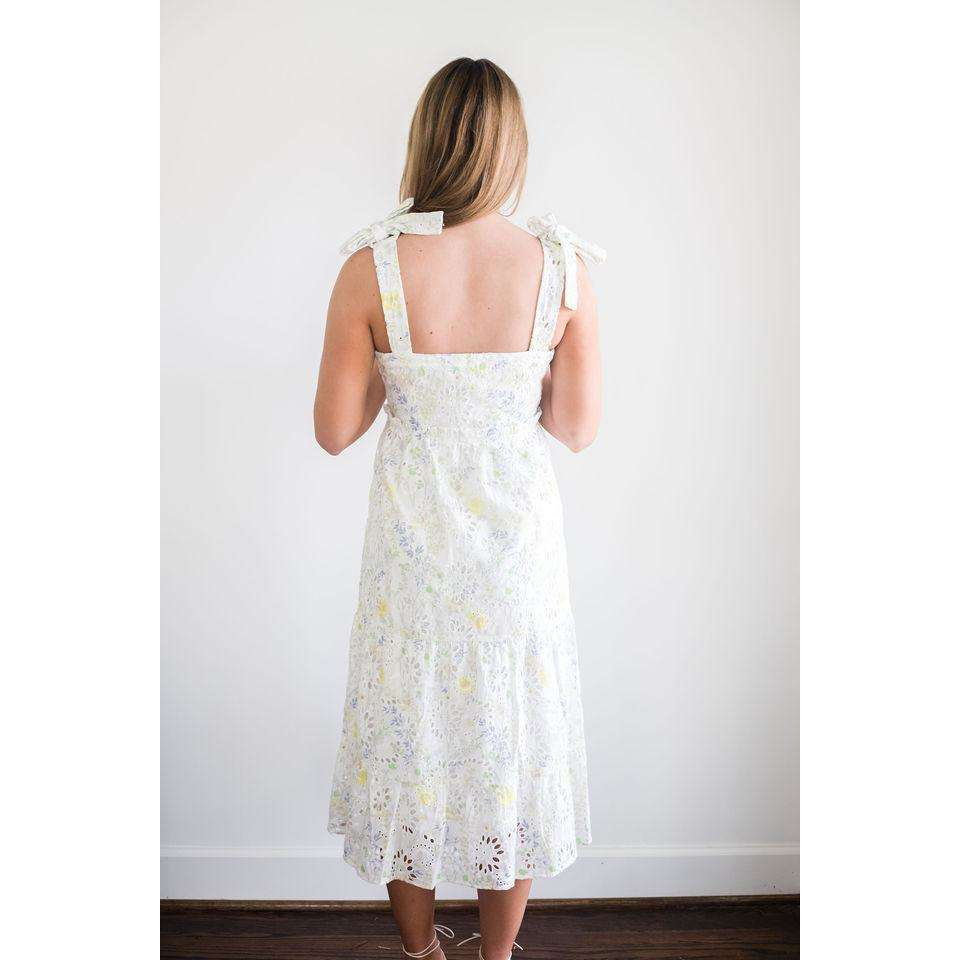 Celestine Embroidered Eyelet Tie Strap Dress in White Yellow